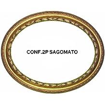 marco para cuadros espejo ovalado hoja efecto espejo color dorado