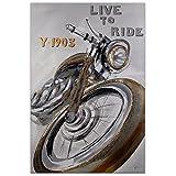 Arte dal Mondo AS374X1 Motocicleta Pintura figurativo moderno realizada a mano montadas sobre bastidor grueso