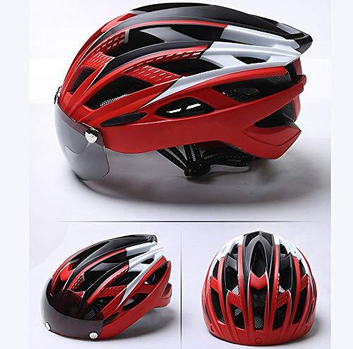 Fengkuo Erwachsene Atmungsaktive Sicherheit Männer Und Frauen Helm, Magnethelm, Fahrradhelm/Reithelm, Mountainbike-Helm, Mit Brille, Safe Und Herbst Dauerhaft (Farbe : Red)