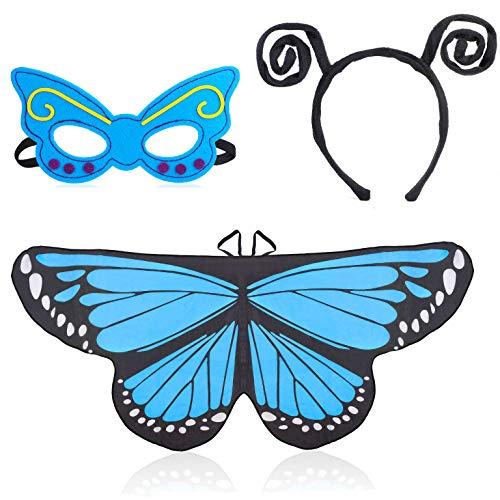 Beelittle Costume Butterfly Wings 3 Pièces Déguisement Fantaisie Set Ailes Papillon Cape Châle avec Bandeau Antenne et Masque pour Filles Enfants (Bleu)