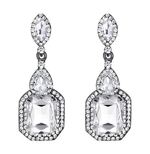 nge Fashion Einfach Geometrisch Kristall Marquise Tropfen Form Chandelier Dangle Statement Ohrringe Klar Schwarz-Silber-Ton ()