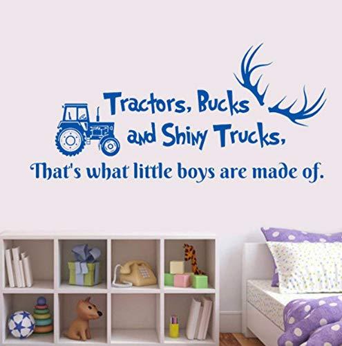 Zjxxm Zitat Traktoren Bucks Und Shiny Trucks Hirschgeweih Auto Dump Truck Aufkleber Kindergarten Jungen Schlafzimmer Dekor Vinyl Removable Wandtattoo 57 * 27Cm