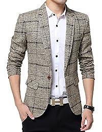 d372ee874cc8 BiSHE Mens Plaid Cotton Blend Tweed Blazer Coat Smart Formal Dinner Suits  Jacket Men