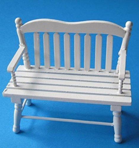 Puppenhaus Gartenbank Holz weiss Puppenhaus Möbel Miniatur 1:12