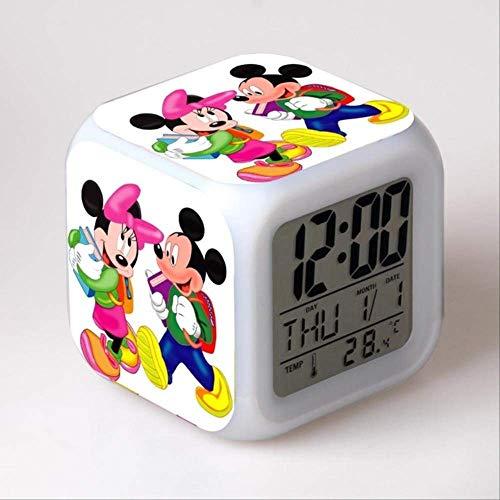 FMWLKJ Reloj Despertador Mickey Mouse y Minnie, Reloj Despertador con Cambio de Color LED Habitación Infantil Reloj Despertador Digital multifunción 8 * 8 * 8 cm Azul