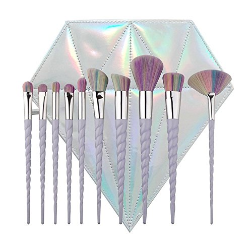 Lennov® 10pcs Spiral Einhorn Griff Form Regenbogen Synthetik Make-up Pinsel Set Professionelle Foundation Lidschatten Blusher Pinsel Kit, mit Diamant-Tasche