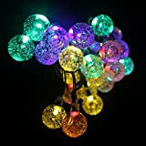 Garden Mile ® Multi-Coloured String Lights 19.7ft 30 LED Crystal Ball Covers With 8 Modes Waterproof Outdoor String Lights Solar Powered Globe Fairy Orb Lantern String Lights Ambiance Lighting for Outside Garden Yard Home Landscape Halloween Christmas Party Decoration Light