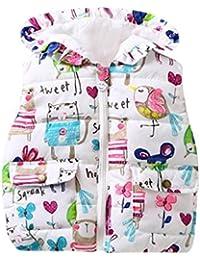 Lenfesh Baby Mädchen Karikatur Blumen Gedruckt Hooded Weste Ärmellose Jacken Wintermantel mit Reißverschluss