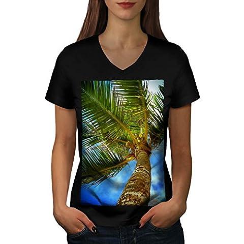 Exotisch groß Palme Baum Damen NEU Schwarz XL T-shirt |