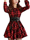 Allegra K Women Plaids Long Sleeves Single Breasted Belted Mini A Line Dress
