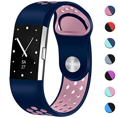 HUMENN Zwei-Farben Weich Silikon Ersatzarmband Smartwatch Sport Band für Fitbit Charge 2 Herzfrequenz Fitnessaufzeichnung, Groß Silikon-Blau/Rosa