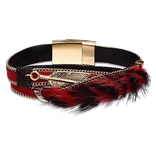 FushoP Feder Legierung Leder Stulpe Armbänder Magnetverschluss Wristband Armreif (Rot) (Bangles Feder)