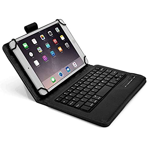 Funda tipo Folio Cooper Cases (TM) Infinite Executive para tablet de Samsung Galaxy Tab 3 Lite 7.0 (T110) / 3G (T111) con teclado Bluetooth en Negro (soporte incorporado, teclado QWERTY extraíble, batería recargable)