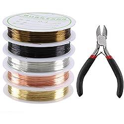 ManYee Rollo de alambre de cobre 0.4mm alambre de aluminio de colores hilo de alambre para manualidades para la fabricación de joyas + Mini alicates de pico de mano