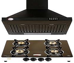 brightflame 4 Burner Black Glass Top & Lotus Z - Black 60CM 1100m3/hr Kitchen Chimney with Lifetime Warranty