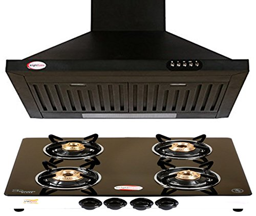 brightflame 4 Burner Glass Top & Kitchen Chimney in 60cm (2ft) with 1100 cbm/Hr and Lifetime Warranty for Motor