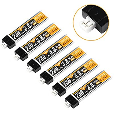 Crazepony 6pcs 230mah 1S LiPo 3.8v 30C HV Battery LiHv 4.35V LiPo Battery with JST-PH 2.0 Connector for Tiny Whoop Micro FPV Racing Drone