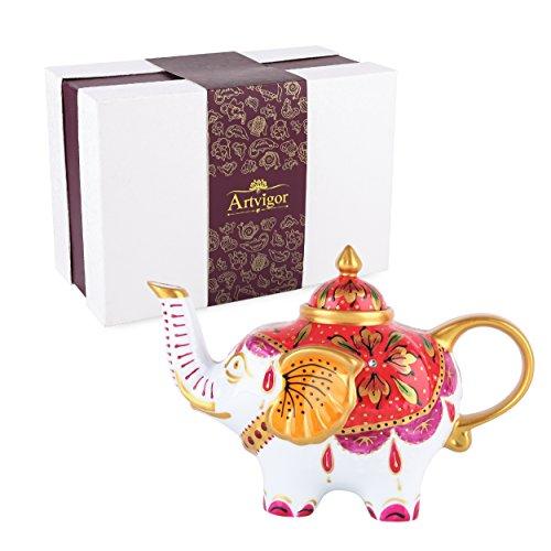Artvigor, Porzellan Teekanne 800 ml, Kaffee Tee Kanne, Elefant Figur, Geschenkverpackung -