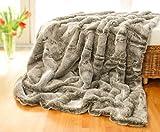 Wohnen & Accessoires Felldecke Grauwolf, Tagesdecke aus Fellimitat in 5 Größen als Kuscheldecke und auch als Sofa-Kissen (Felldecke 150x200cm)