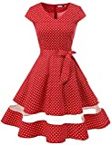 Gardenwed Damen 1950er Vintage Rockabilly V-Ausschnitt Retro Hepburn Stil Cocktailkleid Weihnachten Kleid Red Small White Dot 3XL