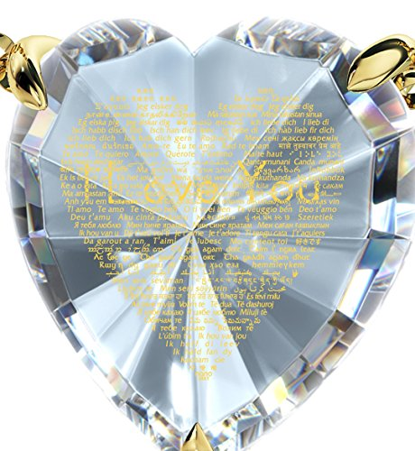Collier Coeur - Bijoux Plaqué Or avec Je t'aime en 120 langues inscrit en Or 24ct sur Zircon Cubique en forme de Coeur, Chaine en Or Laminé de 45cm - Bijoux Nano Transparent