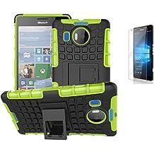 Microsoft Lumia 950 XL(2015)/Nokia 950 XL Hülle mit Schutzfolie,TPU+PC Ultra Slim Silikon Tough Rugged Dual-Layer Hardcase with Built-in Kickstand Thin Stand Case,Wasserdicht Shockproof Anti Slip Stoßfest Protection Tasche Schutzhüllen für Microsoft Lumia 950 XL(2015)/Nokia 950 XL 5.7Zoll-[grün]+Panzerglas/Schutzfolie/Displayschutzfolie