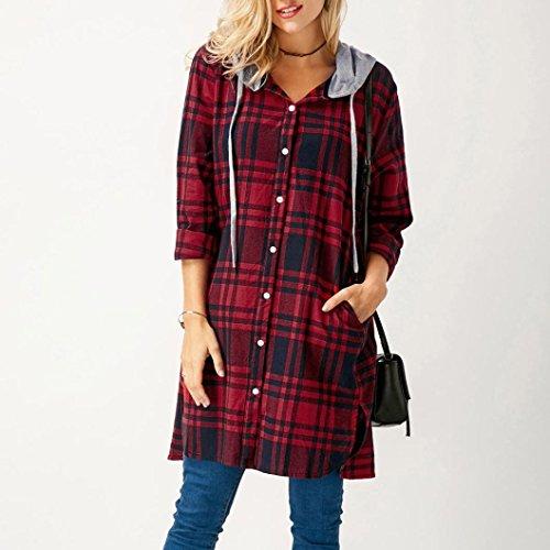 Paolian Femme Tops manches longues capuche chemise en treillis plaid long chemisier Rouge