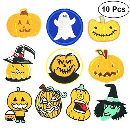 YeahiBaby 10pcs Halloween Eisen auf Patch DIY Bestickt Applikation Patches aufnähen Abzeichen Kleidung