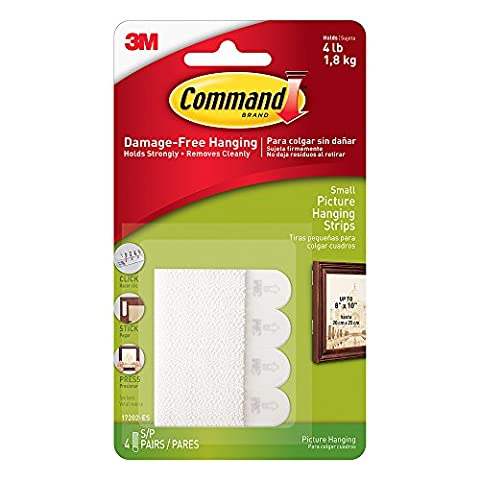 Command Small Picture Hanging Strips, 4 pairs