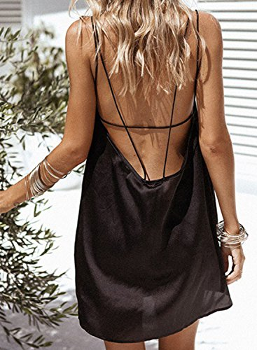Azbro Women's Spaghetti Strap Sleeveless Backless Mini Solid Dress Black