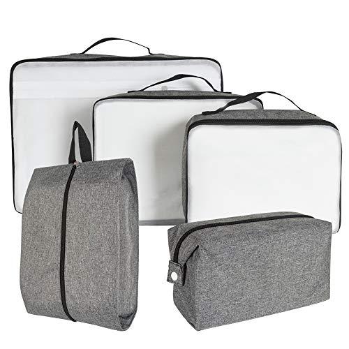 Packing Cubes, 5-teiliges Packtaschen Set für Koffer,Rucksack -Ordnungssystem für Handgepäck, Trolley, Reisetasche und,Urlaub, Reisen, Flugreisen (grau)