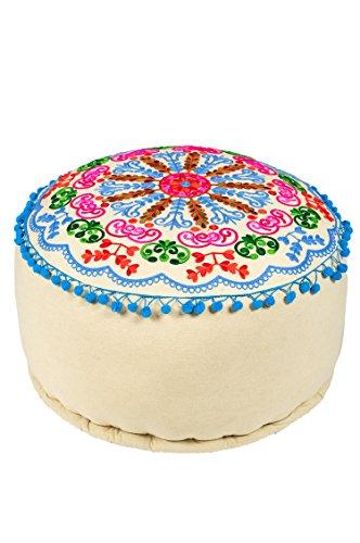 Orientalischer runder Pouf aus Baumwolle 50cm inklusive Füllung | Marokkanisches Sitzkissen Sitzpouf Kissen Jivan -3- ø 50cm Rund | Marokkanischer Hocker Sitzhocker Fusshocker bestickt