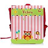Kinder-Rucksack mit Namen Victoria und schönem Eulen-Motiv für Mädchen