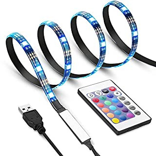 Criacr TV Back Light, 1 M USB LED Strip Light with 30 LED, 16 Colors, 4 Lighting Modes, Versatile Remote Control, USB Bias Lighting Kits for 24-42 Inch HDTV, PC Monitor, Flat Screen TV