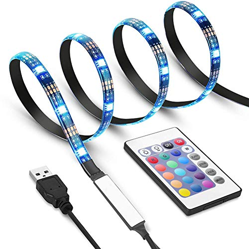 Price comparison product image Criacr TV Back Light,  1 M USB LED Strip Light with 30 LED,  16 Colors,  4 Lighting Modes,  Versatile Remote Control,  USB Bias Lighting Kits for 24-42 Inch HDTV,  PC Monitor,  Flat Screen TV