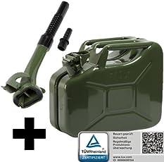 Oxid7 Benzinkanister Kraftstoffkanister Metall 10 Liter Olivgrün inkl. Ausgießer mit UN-Zulassung - TÜV Rheinland Zertifiziert - Bauart geprüft - für Benzin und Diesel