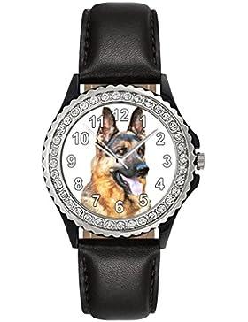 Schäferhund - Strass Damenuhr mit Lederarmband in schwarz