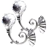 Anladia 2 x Elegant Kristall Silber Diamant Kugel Raffhalter Gardinenhalter Vorhanghalter Wandhaken