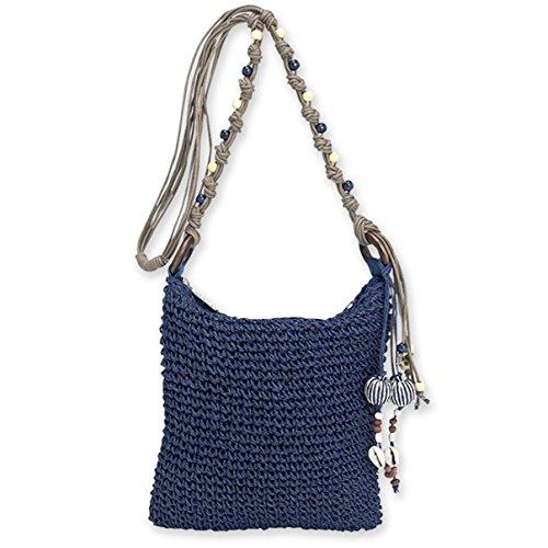 Blau Stroh Handtaschen (Sun N' Sand Portola Mini-Umhängetasche, gehäkelt, Naturfarben, Blau (marineblau), Small)