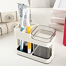 Zollyss 1 Cup Toothbrush Toothpaste Stand Holder Bathroom Storage Organizer,Plastic