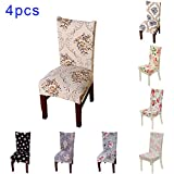 Sundlight 4pcs Spandex Dining Chair Slipcovers Removable Universal Stretch Chair Protective Covers for Dining Room, Hotel, Banquet, Ceremony