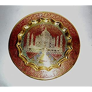 Artcollectibles India 14cm Brass Decorative Wall Plate Taj Mahal Decor Handcrafted Art Christmas Gifts