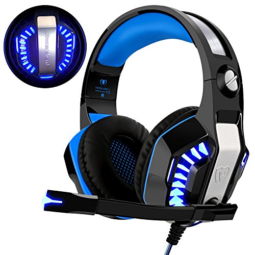 Gaming Headset für PS4 Xbox One PC, Beexcellent Professional Deep Bass Kopfhörer mit Mikrofon LED Licht für Laptop Mac Handy Tablet Blaue Mac Laptop