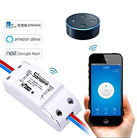 LEEHUR Wireless Wifi App Controlled DIY Smart Switch Module Support Remote Control with ABS Shell Works with Amazon Alexa Google Nest Home Appliances