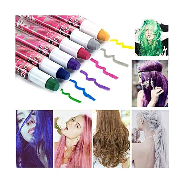 Tiza de Pelo, Cabello Tiza, Coloración temporal Cabello, Hair Chalk Set, 6 Colores Temporal Tiza de Pelo dont have…