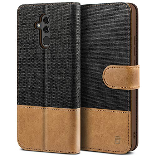 BEZ Handyhülle für Huawei Mate 20 Lite Hülle, Tasche Kompatibel für Huawei Mate 20 Lite, Handytasche Schutzhülle [Stoff & PU Leder] mit Kreditkartenhalter, Schwarz