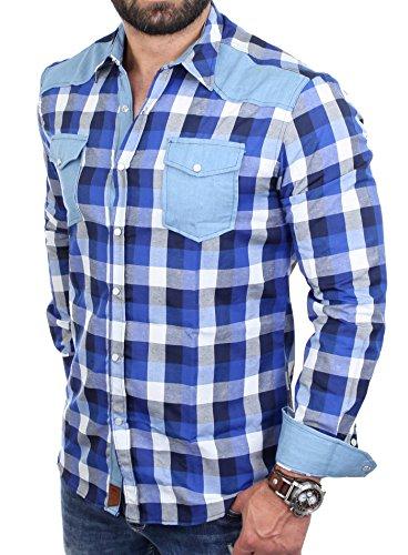 Reslad Herren Hemd Karo Material-Mix Langarm Jeans RS-7202 Blau