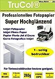 150 Blatt 13x18 SUPER Hochglänzendes Einseitiges Fotopapier 265g /m² – sofort trocknend - Professionelles hochauflösendes InkJet - Fotopapier für hochwertige Ausdrucke mit exakter Randschärfe und hohe Farbwiedergabe