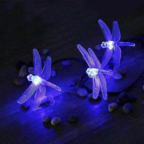 lederTEK Solar Lichterkette 4,8m 20 LED 8 Modi Großlibellen Außenlichterkette Wasserdicht mit Lichtsensor Weihnachtsbeleuchtung, Beleuchtung für Haushalt, Außen, Garten Hochzeit, Weihnachten (blau) - Bild 7