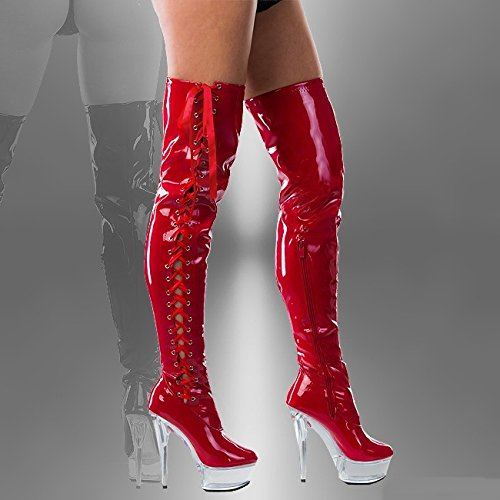 1039df6240df6a RUBY-FASHION Sexy Overknee Stiefel Stiletto High Heels Crystal Plateau  Boots GoGo Lack ...